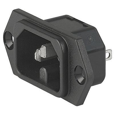 6110-3, SGE GST, PG07, Gerätesteckerkombielement 10A Frontplatte s/w