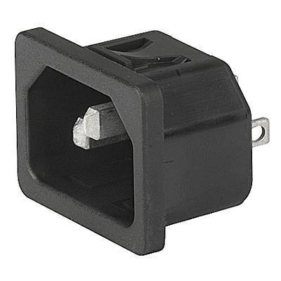 6100-4, SGE GST, PG07, Gerätesteckerkombielement 10A Frontplatte s/w